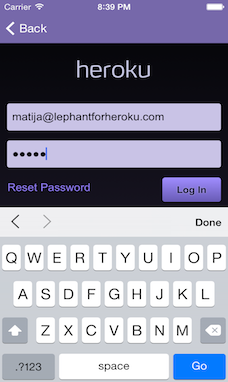 Screenshot of Heroku login screen. Built in OAuth, support for Two-factor authentication.