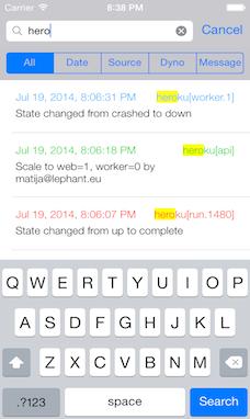 Screenshot of Heroku login screen. Log filter: dyno, source, time/date, message.