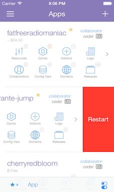 Screenshot of Dashboard screen with Restart App feature