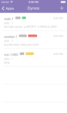 Screenshot of Dynos list screen with Dyno status (up/crashed/running)