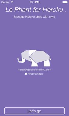 Screenshot of Welcome screen with white Elephant logo