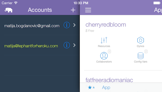Le Phant for Heroku dashboard and accounts in landscape orientation.